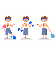 sport ball racket boy vector image