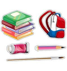 Sticker set with school equipment vector