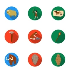 Stone age set icons in flat style Big collection vector