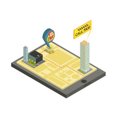 taxi mobile service isometric vector image