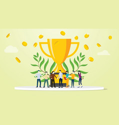 team people success business with big golden vector image