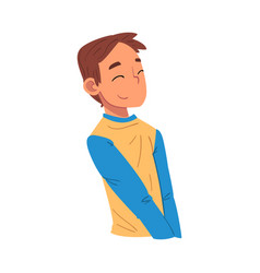 Thoughtful boy smiling relaxed teenager dreaming vector