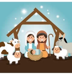 Traditional manger merry christmas vector