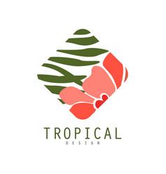 tropical logo template design geometric badge vector image