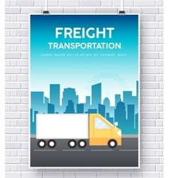 Trucker on road on brick wall vector