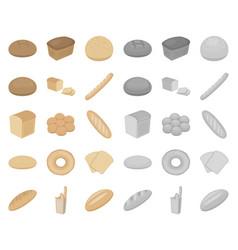 types of bread cartoonmono icons in set vector image