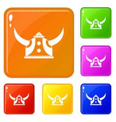 viking helmet icons set color vector image