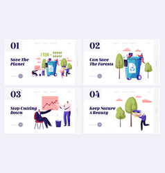 Wastepaper recycling solution website landing page vector