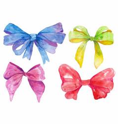 Watercolor hand-drawn set bows vector