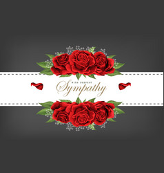 Wedding invitation floral card red rose bouquet vector