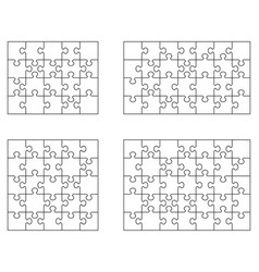 white puzzle separate pieces vector image