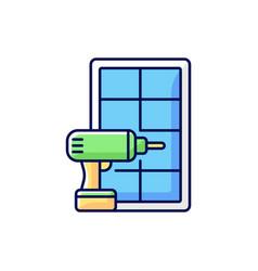 Window installation rgb color icon vector
