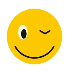 Winking smiley icon flat style vector image