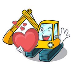 With heart excavator mascot cartoon style vector