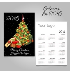 Calendar 2016 with christmas tree and gifts vector