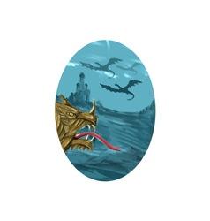 Dragon Head Castle Oval Watercolor vector image vector image