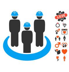 engineer community icon with love bonus vector image vector image