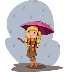girl pink umbrella rainy grey day vector image vector image