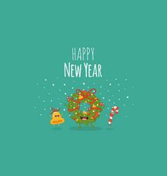 happy new year card santa s greetings vector image vector image