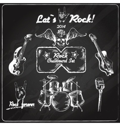 Rock music chalkboard set vector image vector image