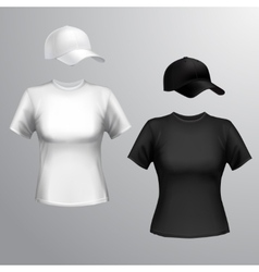 Women t-shirt baseball cap vector image