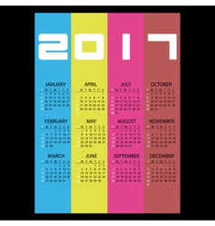 2017 simple business wall calendar with vertical vector image vector image
