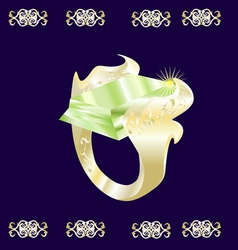 a gold ring with a green stone vector image vector image
