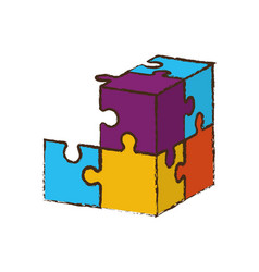 cube puzzle pieces image vector image