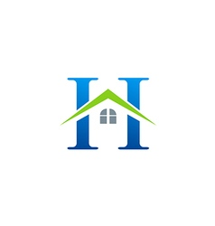 house roof initial letter H logo vector image