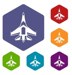 Jet fighter plane icons set vector image