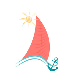 sailboat on waves with an anchor maritime concept vector image vector image