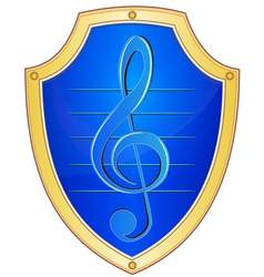 Shield with treble clef vector image