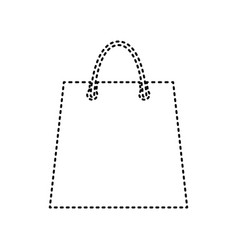 shopping bag black dashed vector image vector image