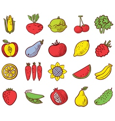 vegetables and fruits icons set vector image vector image