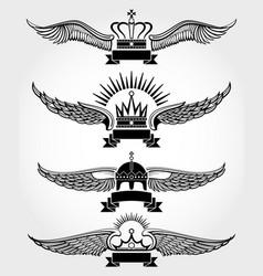 winged crowns and ribbons royal logo vector image vector image
