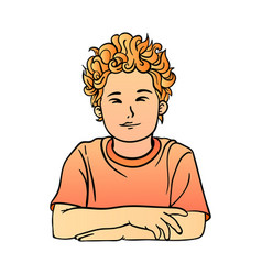 a schoolboy with red curly hair in t-shirt quietly vector image vector image