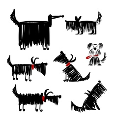 Funny black dogs collection for your design vector image vector image