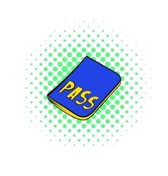 Passport icon in comics style vector image