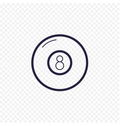 Pool eight ball line icon billiard game thin vector