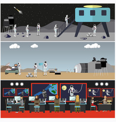 set of space exploration concept posters vector image