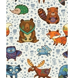 Woodland annimals seamless pattern vector image vector image