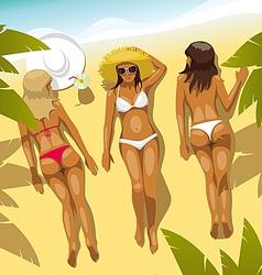 3 Girls on the Beach vector image