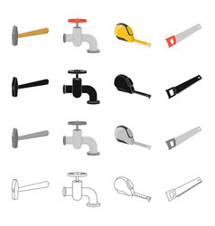a hammer a water tap on a construction site a vector image