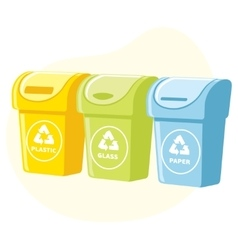 Different colored recycle waste bins vector image