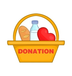 Donation box with food icon cartoon style vector image