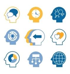 Head brain icons vector image