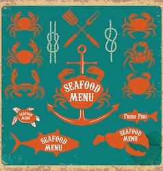 seafood menu labels set vector image vector image