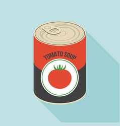tomato soup canned flat design vector image