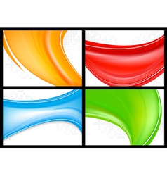 Wave business cards vector image vector image