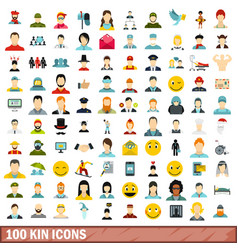 100 kin icons set flat style vector